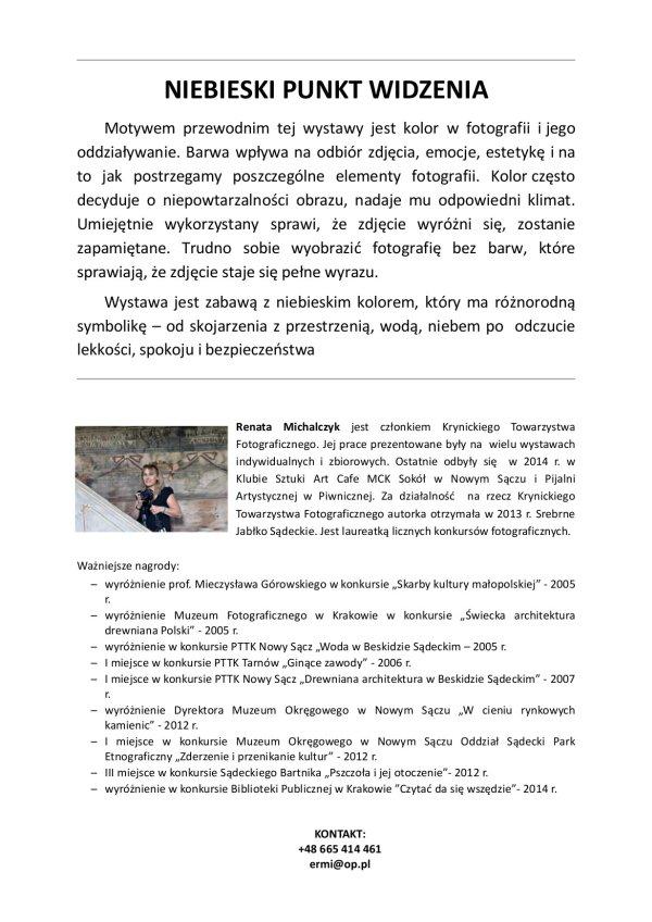 Tekst -Wystawa Renaty Michalczuk