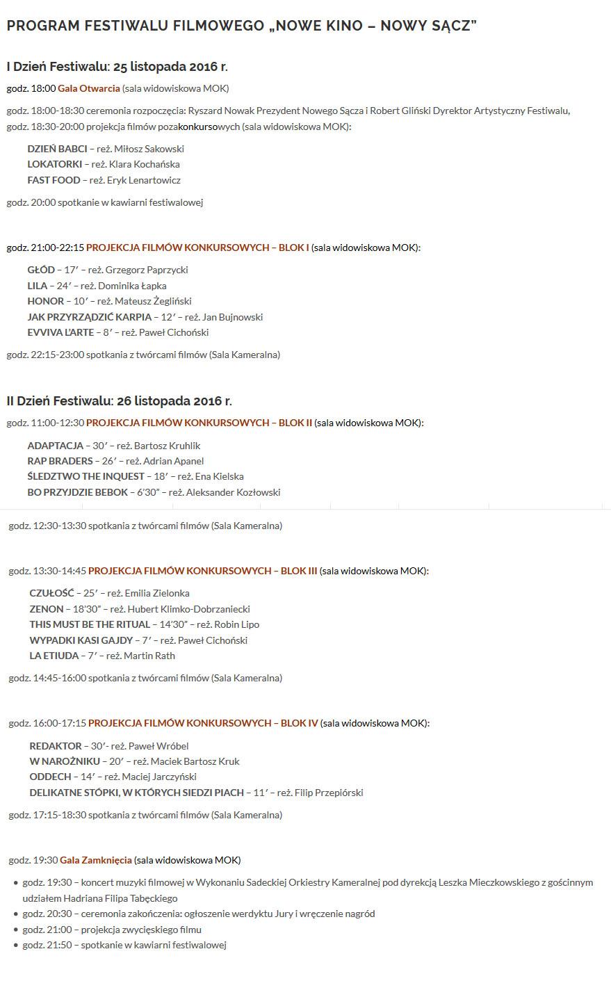 program festiwalu firmowego nowe kino nowy sacz
